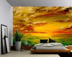 Seascape Ocean Rays of Light Large Wall Mural by GlowingWallDecor