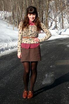 Fall/Winter Outfit: Cardigan + Button Down Shirt + Belt + Tweed Mini Skirt + Dark Brown Sheer-ish Tights + Tan/Brown Oxfords
