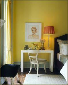 white desk w/ yellow wall