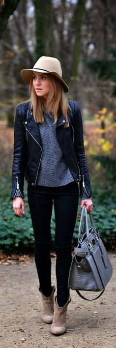I love the leather jacket the most in this look! Hats just aren't for me but black skinnies, ankle boots, and a leather jacket? Perfect.