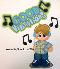 Music Good Vibrations boy paper piecing premade scrapbook page Rhonda rm613art