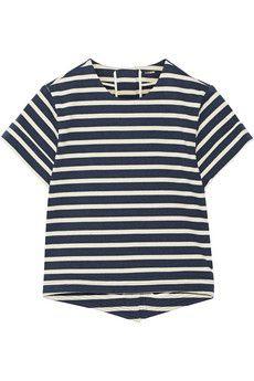 Adam Lippes Split-back striped cotton top   NET-A-PORTER