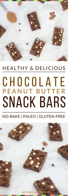 Looking for a healthier, homemade alternative to store-bought granola bars? These Double Chocolate Peanut Butter Snack Bars may sound indulgent, but they are packed with protein, healthy fats and antioxidants. There's no refined sugar, they'll give you to Peanut Butter Snacks, Chocolate Peanut Butter, Vegan Chocolate, Chocolate Recipes, Paleo Vegan, Paleo Dessert, Dessert Recipes, Snack Recipes, Healthy Homemade Snacks