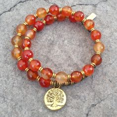 Many shades of Orange to liven up your day, with this faceted genuine Carnelian wrap bracelet!