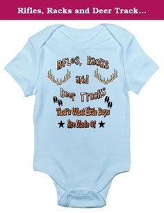 Rifles, Racks and Deer Tracks Cute Hunting One-piece Baby Bodysuit Clothes (0-3 Months, Light Blue). The Baby Bodysuit That Wins The Hearts of All Out with the boring bodysuit! Rapunzie onesies feature witty and charming sayings and illustrations to bring out the fun in your baby's wardrobe. Only The Best For Your Baby Forget thin, low-quality bodysuits that shrink or fall apart after a few wash cycles. Laughing Giraffe bodysuits are pre-shrunk and made with only the finest materials....