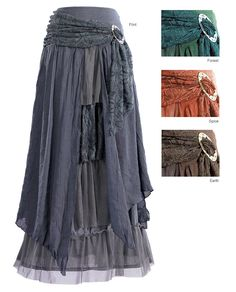 Layered Skirt with Brooch: GaelSong -a ruffly skirt - with swirling gauze panels, netting and a swag of lace looped off-center in a shiny brooch - but in a flinty grey. This layered skirt is a little bit princess and a whole lot of wicked sister. Gypsy Style, Hippie Style, Bohemian Style, Boho Chic, My Style, Bohemian Skirt, Hippie Chic, Boho Dress, Mode Hippie