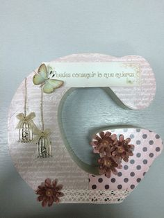 Wooden letter decorated with scrapbookin - Mary Thompson Wood Crafts, Fun Crafts, Diy And Crafts, Letter A Crafts, Letter Art, Diy Projects To Try, Craft Projects, Handmade Jewelry Box, Wood Letters