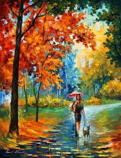 afremov, original, oil, painting, palette knife, impressionist, impressionism, surreal, surrealism, buy painting , purchase art, purchase painting, gallery,landscape, park, scenery, city park, couple, man , woman, umbrella, autumn, cold, winter