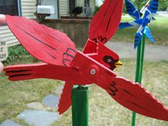 Handmade Wooden Cardinal Bird Shaped Whirligig For Your Yard