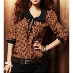 $8.68 Ladylike Double Lace With Belt Collar Polka Dot Deisgn Long Sleeves Blended Women's Blouse