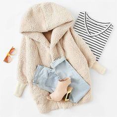 We can\'t think of a better idea to face the chilly daze with a super warm fluffy... Could I buy this? Love it ♥ #outfit #style #Cute #ootd