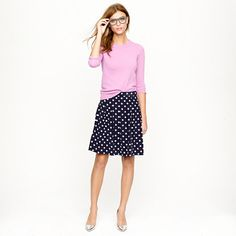 Pleated skirt in polka-dot crepe - loving it with the 3/4 sleeves and metallic shoes! JCrew Fall 2012