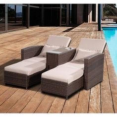 Outsunny Outdoor Garden Rattan Sofa Lounger Recliner Wicker Patio Furniture Set | aosom.co.uk