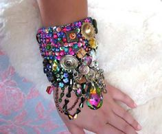 SALE - Wild Purple Vine Gypsy Jangle Bracelet, Sparkle, Green, Pink, Blue, Antique Velvet, Bohemian, Jewellery