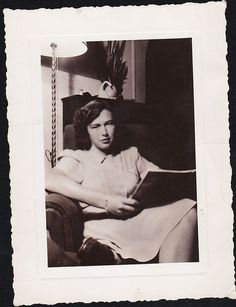 Old Vintage Antique Photograph Young Woman Sitting By Lamp Reading Book