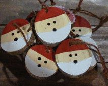 Santa Christmas Ornament Set - Hand Painted Christmas Ornaments - Wood Slice Ornament - Christmas Decorations - Christmas Tree Ornaments