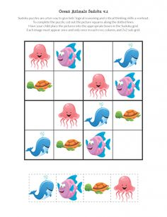 Free printable Ocean Animals Sudoku Puzzles for children. Farm Animals Preschool, Preschool Worksheets, Preschool Activities, Sudoku Puzzles, Word Puzzles, Kids Puzzles, Printable Puzzles For Kids, Free Printables, Diy Pour Enfants