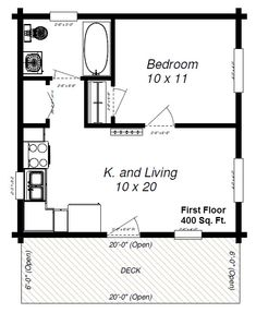 small cottages under 600 sq feet | panther 89 with loft first floor plan