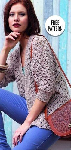 Fabulous Crochet a Little Black Crochet Dress Ideas. Georgeous Crochet a Little Black Crochet Dress Ideas. Gilet Crochet, Crochet Jacket, Chunky Crochet, Easy Crochet, Free Crochet, Crochet Blouse, Knit Crochet, Knit Cardigan Pattern, Crochet Cardigan Pattern Free Women