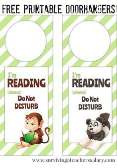 Free Printable Reading DO NOT DISTURB Door Hanger signs! SO CUTE for book nooks, reading corners, libraries and classrooms! Fun Crafts To Do, Diy Crafts, Door Hanger Template, Epic Kids, Preschool Classroom, Classroom Ideas, Book Projects, Craft Projects, Door Hangers