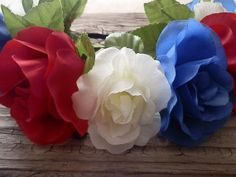 Patriotic Flower crown red white blue floral by myfashioncreations, $24.00