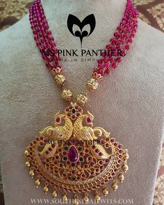 Antique Ruby Mala From Ms Pink Panther ~ South India Jewels Pearl Necklace Designs, Beaded Jewelry Designs, Jewelry Design Earrings, Gold Earrings Designs, Gold Jewellery Design, Bead Jewellery, Jewelry Patterns, Gold Jewelry, Jewellery Making
