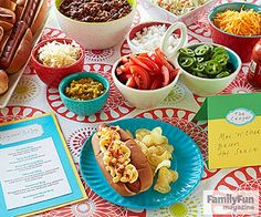 Customize-a-Hot-Dog Bar: Here's an easy way to feed a crowd that lets folks show off their culinary creativity. Have all the standard condiments at the ready but also bring some favorite fixings. Set out card stock signs listing suggested ingredients.