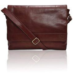 bc80907f288a Amazon.com: Leather Laptop Messenger Bag for Men - Premium Office Briefcase  14