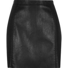 River Island Black crinkle leather-look mini skirt ($56) ❤ liked on Polyvore featuring skirts, mini skirts, black, women, short mini skirts, river island, black mini skirt, imitation leather skirt and black miniskirt
