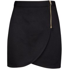 Ted Baker Wrap Front Mini Skirt, Black (145 AUD) ❤ liked on Polyvore