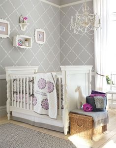 Girls Nursery 3 - Gray and purple room, its currently my favorite for Koalas room. Paint: Benjamin Moores Coventry Gray (HC 169). Their Silver Chain (1472) color would also go beautifully with the Dahlia bedding set. No wallpaper was used, its a stencil.