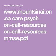 Mini Mental State Examination (MMSE)