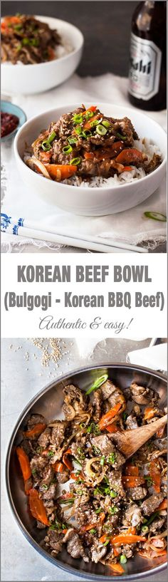 Korean Beef Bowl (Bulgogi - Korean BBQ Beef) - easy to make with ingredients from the supermarket. Great marinade! | Korean Beef Bowl, Korean Bbq Beef, Korean Beef Marinade, Korean Bowl Recipe, Beef Bowl Recipe, Beef Bulgogi Recipe, Bulgolgi Recipe, Sirloin Marinade, Mirin Recipe