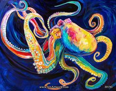 """Rainbow Octopus"" Original Painting by Jen Callahan"
