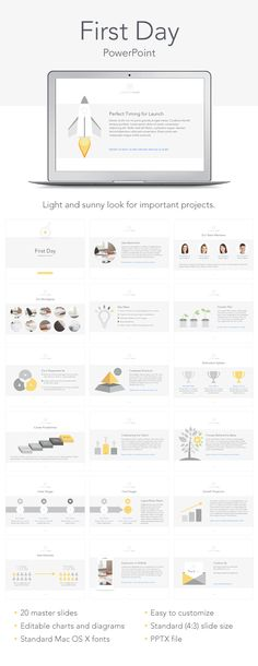 The First Day template offers a professional look for your Keynote presentation. - Keynote - Ideas of Keynote - The First Day template offers a professional look for your Keynote presentation. It includes 20 masters and 2 slide sizes which a Powerpoint For Mac, Creative Powerpoint Presentations, Powerpoint Design Templates, Keynote Template, Slide Presentation, Business Presentation, Presentation Design, Portfolio Presentation, Web Design