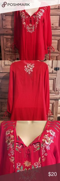 Luna Moon Red Embroidered Top Beautiful Boho/Johnny Was inspired top. 3/4 length sleeves. 100% rayon. NWOT Luna Moon Tops Tunics
