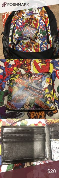 Marvel backpack & wallet Well loved backpack and a gently used wallet. The pictures show the west on the strap and the side mesh pocket. The back is all black mesh and has 3 discoloration spots. The wallet has one white spot on the inside (see pic). Still has a lot of life left in the set! Bags Backpacks