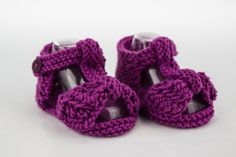 Baby Girl Sandals, Baby Girl Bow Front Sandals, Lace Bow Sandals, Summer Booties, Knit Baby Sandals, Fuchsia Baby Sandals by heaventoseven on Etsy