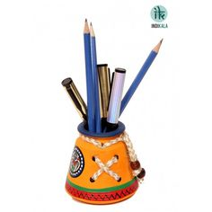 Name : Yellow Pen stand Price : Rs 299 Buy Now at : http://www.indikala.com/containers/pen-stand-70.html #luxury #ethnic #homedecor