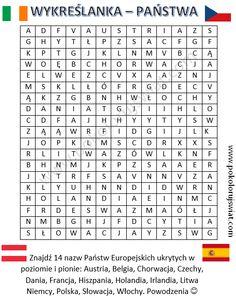 Wykreślanka - nazwy Państw Europy do wydruku | Pokoloruj Świat