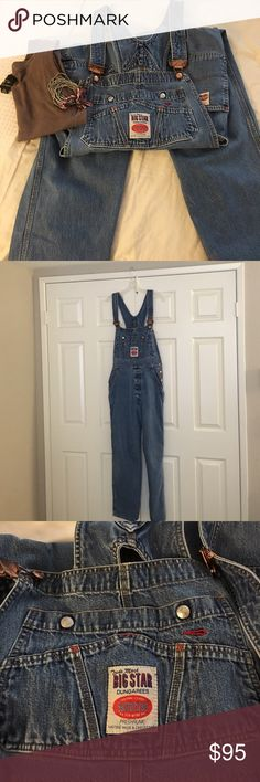 🎉🎉❤️Vintage Big Star Overalls from 1980's ❤️❤️ They don't even make these overalls anymore and I had to search for over a year to find them on eBay after mine burned in a house fire😂 They are so flattering on, and fortunately when I found them I bought 2, but I'm only selling this one!❤️ Fits a size 4-8, depending on how loose or snug you want them to fit. I like them snug with a close fitting t-shirt❤️ Big Star Jeans Overalls