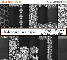 "SALE50% Chalkboard  digital paper: ""CHALKBOARD LACE Paper""  Wedding Papers White Wedding lace Vintage Lace Chalkboard Textured instant downl"