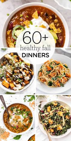 Here's a list of the 60  delicious   HEALTHY Fall Dinner recipes! We've got everything from hearty salads, soup, chilis, pasta, bowls and more. Mac and cheese, vegetarian chili, shepherd's pie, this list has it all. Lots of healthy vegetarian, vegan and gluten-free recipes. Autumn Pasta Recipes, Fall Dinner Recipes, Healthy Pasta Recipes, Delicious Vegan Recipes, Dinner Ideas, Yummy Food, Vegetarian Chili, Vegetarian Recipes, Best Chili Recipe