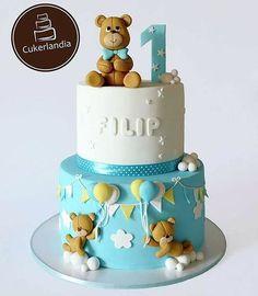Toddler Birthday Cakes, Baby Boy Birthday Cake, Teddy Bear Birthday, Baby Cakes, Baby Shower Cakes, Bolo Mickey, Teddy Bear Cakes, Bolo Cake, Cakes For Boys