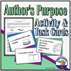 This author's purpose reading activity explains author's purpose (to persuade, inform and entertain). Easy as P. I. E. Includes a worksheet and a set of 24 task cards with answer key and recording sheet. The worksheet gives students six different author's purpose reading selections they need to ide...