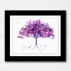 Cherry Tree Purple Watercolor Art Print Poster by RoseandElaine