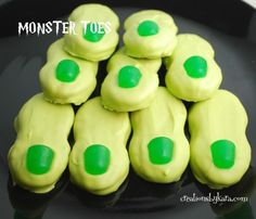 Monster Toes ~ made using Nutter Butter cookies & Dots candy... fun for a Monster themed party or Halloween