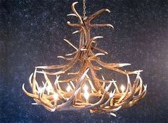 Elk Antler Chandelier with 12 Antlers - Great idea for your log cabin decor.