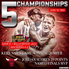 On this day 18 years ago, Steve Kerr hits game winning jumper & Michael Jordan scores 39 points leading the Bulls to their 5th Championship.