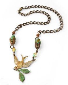 Vintaj Necklace Design - Extending Peace---uses Tim Holtz Vintaj Patina glaze.